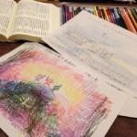 10/23(水) 秋を感じる言葉、文章から絵を描こう。 歳時記から俳句を選んで絵を描きました。