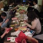 11/30(金) クリスマスカード作り。 クリスマスカードを作り、その1枚をみんなで交換しました。