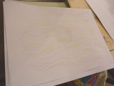 おえかき部「音から描く」部員作品「ウクレレの音」