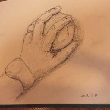 5月「鉛筆で手を描く」(桑名)