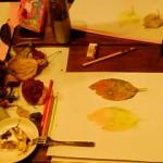 11/16(火) 落ち葉。 落ち葉を拾ってきて絵を描きました。
